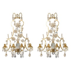 Pair of Rock Crystal and Gilt Metal Four-Light Scones