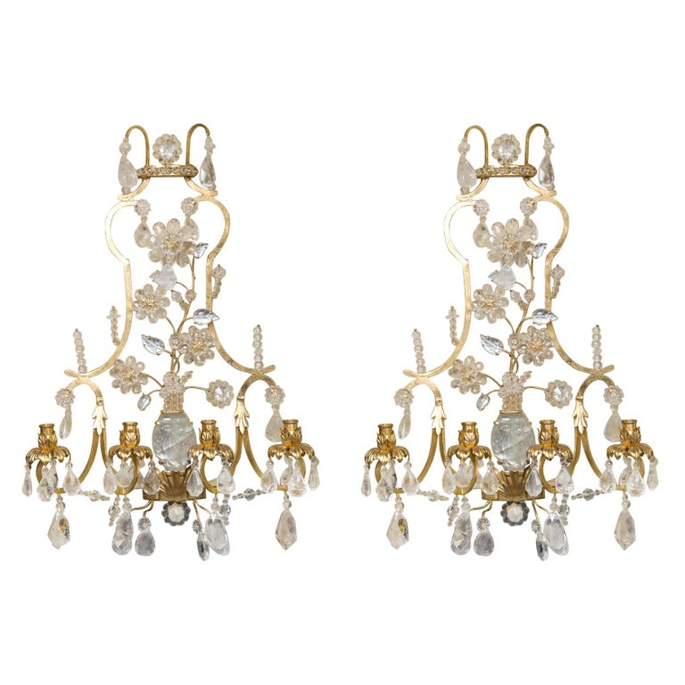 Pair of Rock Crystal and Gilt Metal Four-Light Scones For Sale