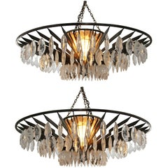 Pair of Rock Crystal and Hand Hammered Chandeliers