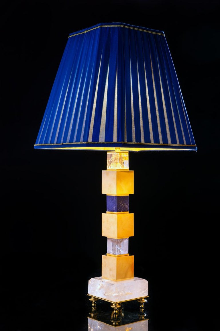 Pair of Rock Crystal and Malachite and Lapis Lazuli Lamps by Alexandre Vossion In New Condition For Sale In SAINT-OUEN, FR