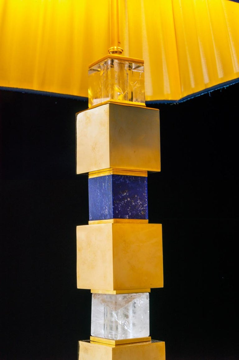 Contemporary Pair of Rock Crystal and Malachite and Lapis Lazuli Lamps by Alexandre Vossion For Sale