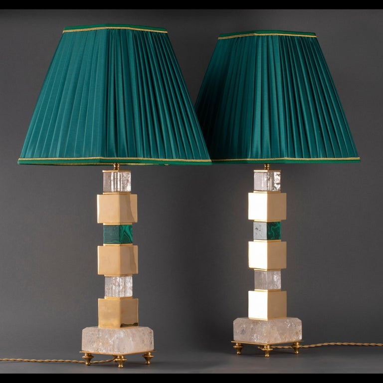 Pair of Rock Crystal and Malachite and Lapis Lazuli Lamps by Alexandre Vossion For Sale 1