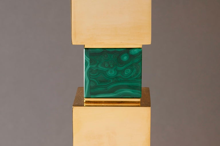 Pair of Rock Crystal and Malachite and Lapis Lazuli Lamps by Alexandre Vossion For Sale 2