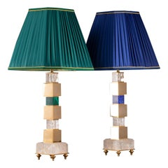 Pair of Rock Crystal and Malachite and Lapis Lazuli Lamps by Alexandre Vossion