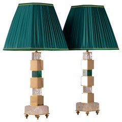 Pair of Rock Crystal and Malachite Lamps by Alexandre Vossion