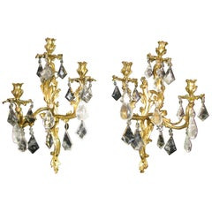 Pair of Rock Crystal and Ormolu Sconces, 19th Century