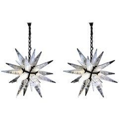 Pair of Rock Crystal Art Deco Style Black Star Lightings by Alexandre Vossion
