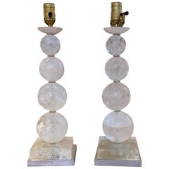 Pair of Rock Crystal Ball Form Lamps on Silver Giltwood Bases