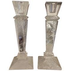 Pair of Rock Crystal Candlesticks