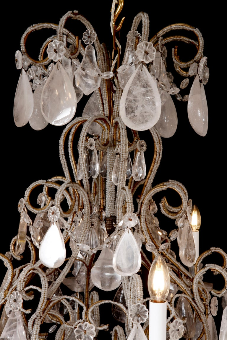 Italian Pair of Rock Crystal Chandeliers For Sale