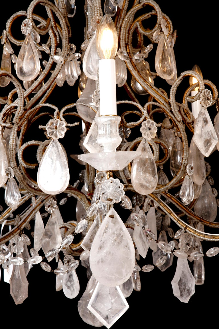 Pair of Rock Crystal Chandeliers In Excellent Condition For Sale In London, GB