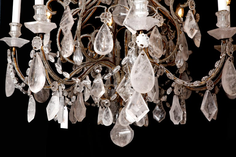 Early 20th Century Pair of Rock Crystal Chandeliers For Sale