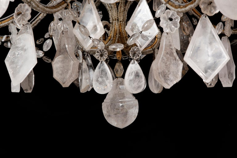 Pair of Rock Crystal Chandeliers For Sale 2