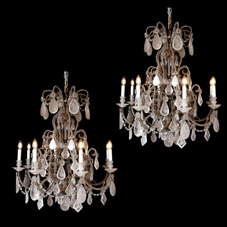 Pair of Rock Crystal Chandeliers For Sale 3