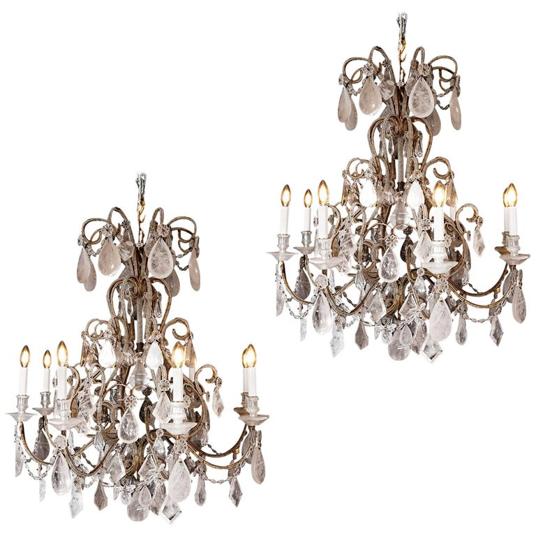 Pair of Rock Crystal Chandeliers For Sale