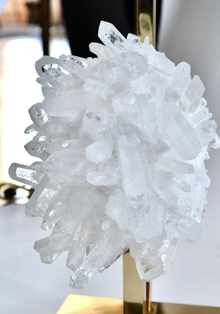 Pair of Rock Crystal Cluster Lamps by Phoenix In Excellent Condition For Sale In New York, NY