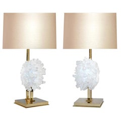 Pair of Rock Crystal Cluster Lamps by Phoenix