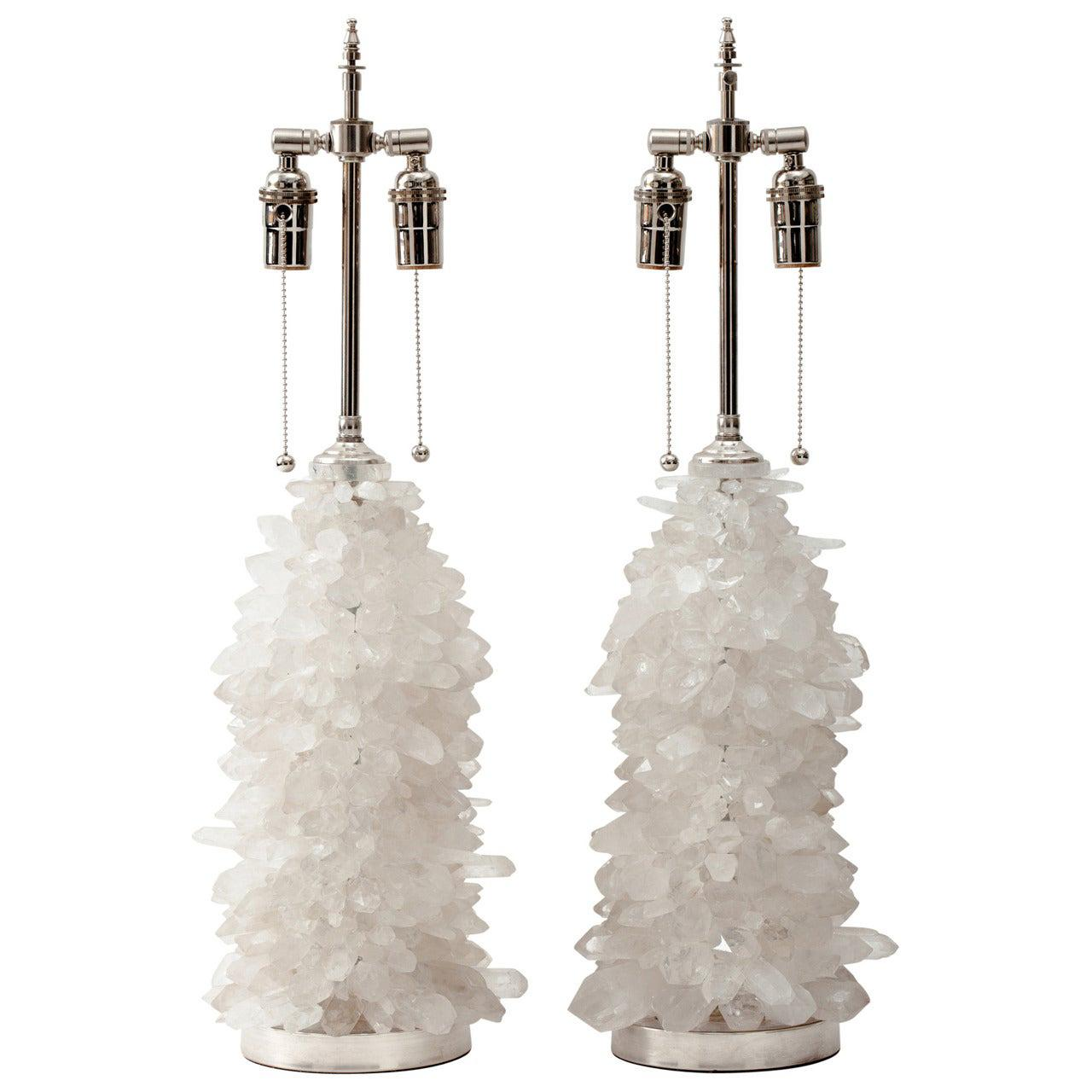 Pair of Rock Crystal Cluster Lamps