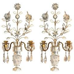 Pair of Rock Crystal Floral Urn Sconces