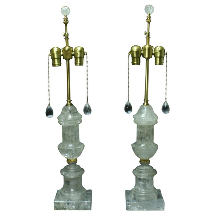 Pair of Rock Crystal Fluted Urn Lamps