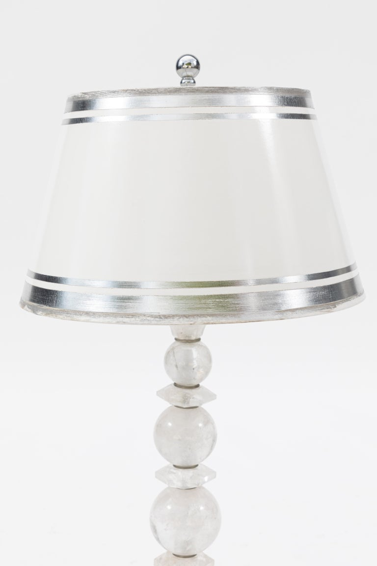 Contemporary Pair of Rock Crystal Lamps For Sale