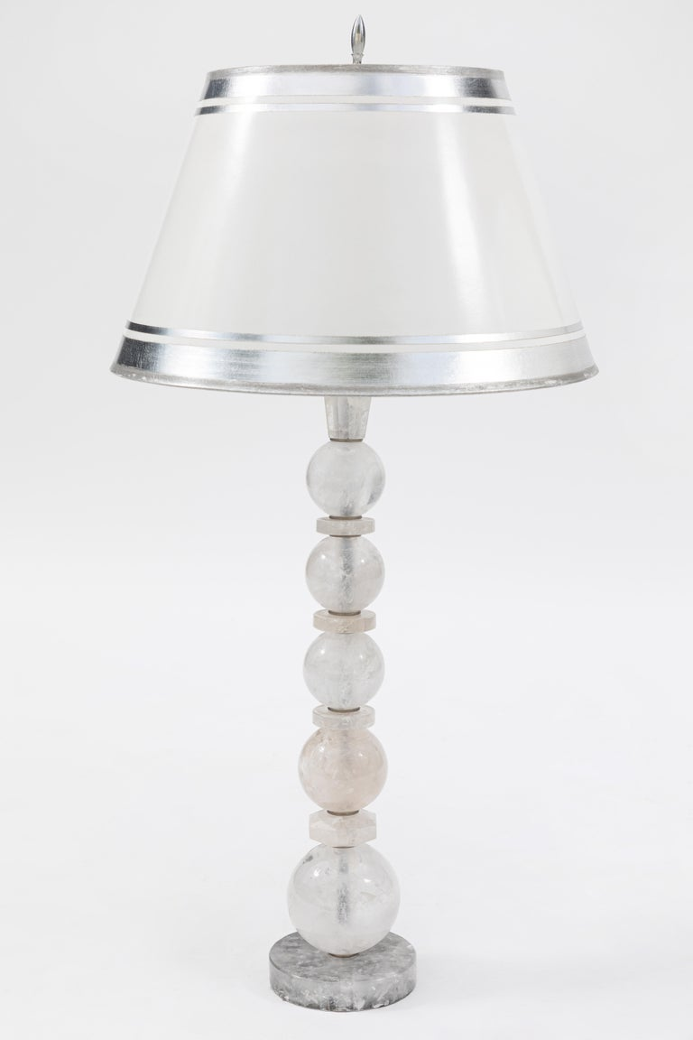 Pair of Rock Crystal Lamps For Sale 1