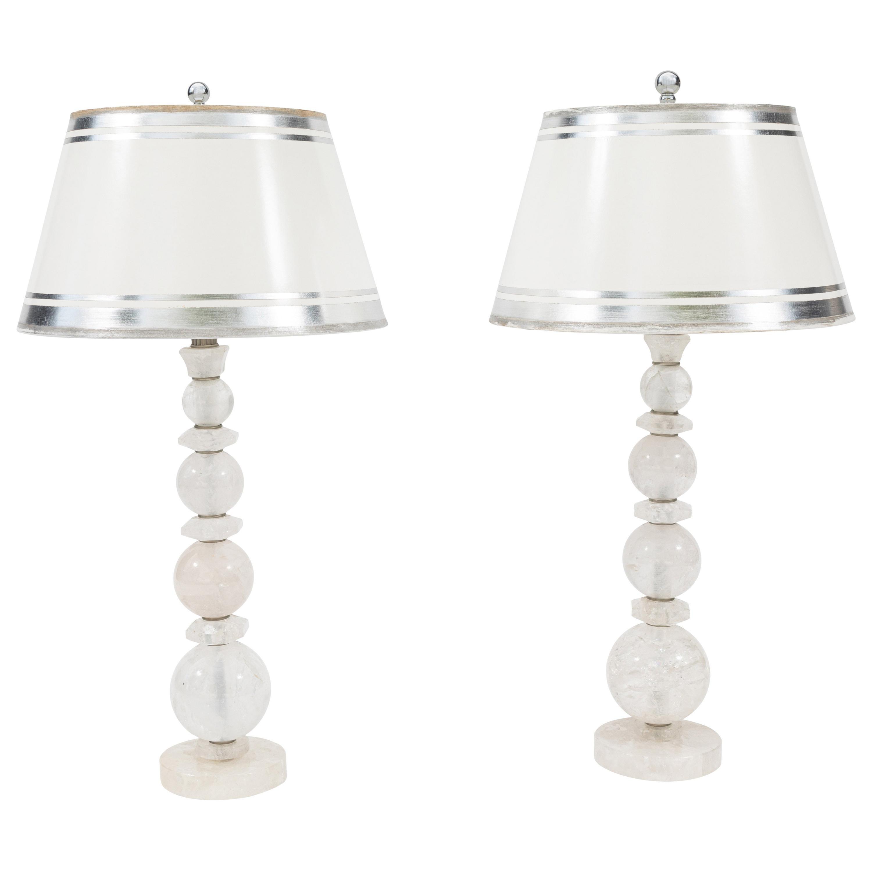 Pair of Rock Crystal Lamps