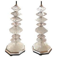 Pair of Rock Crystal Lamps with Gilt Silver Base