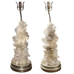 Pair of Rock Crystal Lamps with Silver Leaf Bases