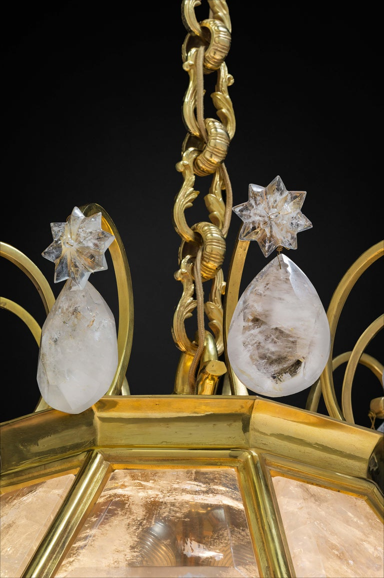 Pair of Rock Crystal Lanterns by Alexandre Vossion In Distressed Condition For Sale In SAINT-OUEN, FR