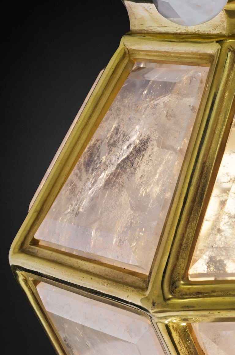 Bronze Pair of Rock Crystal Lanterns by Alexandre Vossion For Sale