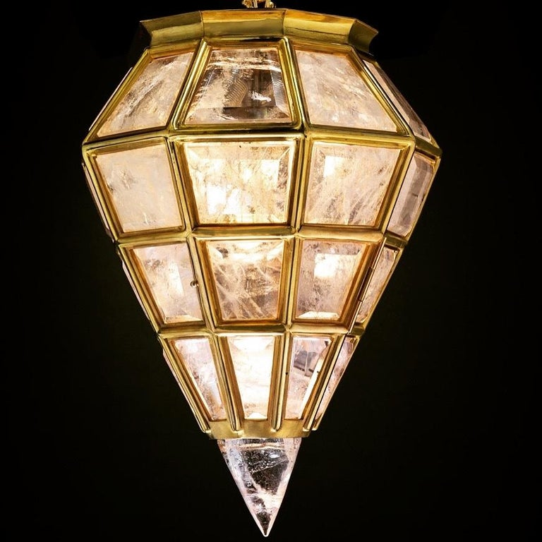 Pair of Rock Crystal Lanterns by Alexandre Vossion For Sale 2