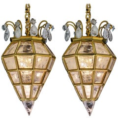 Pair of Rock Crystal Lanterns by Alexandre Vossion