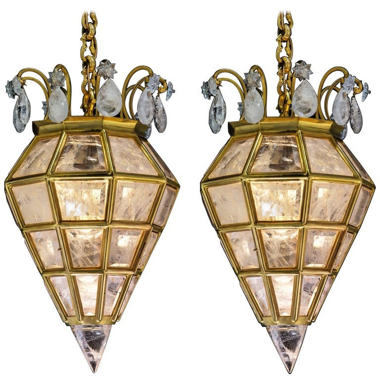 Pair of Rock Crystal Lanterns by Alexandre Vossion For Sale