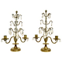 Pair of Rock Crystal, Lead Crystal and Brass Candelabra, Late 19th Century