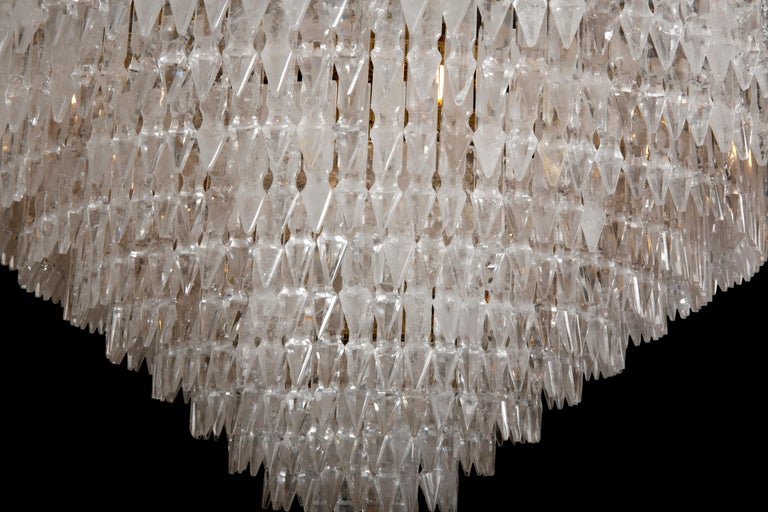 French Pair of Rock Crystal Myrzah Chandeliers For Sale