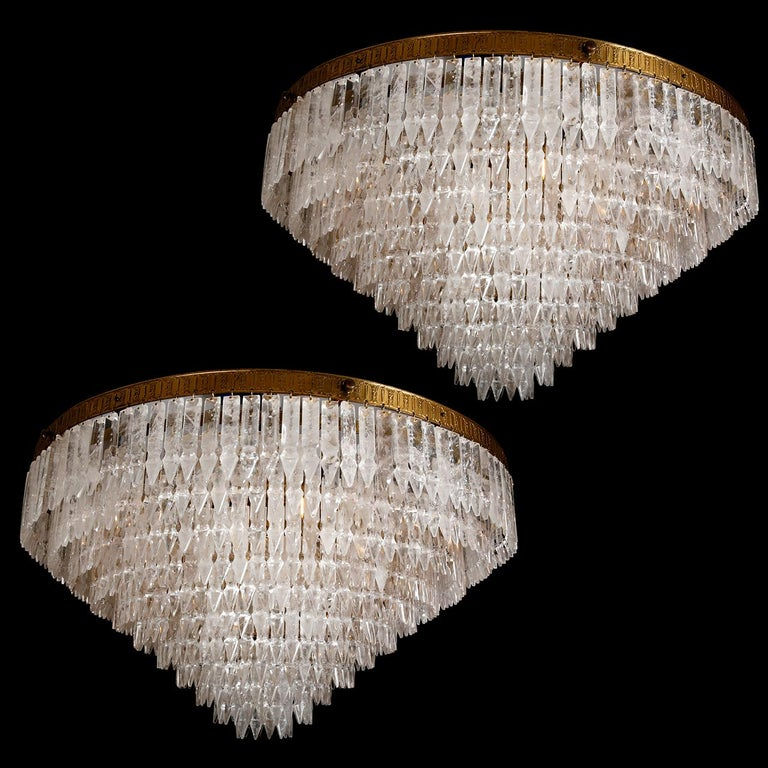 20th Century Pair of Rock Crystal Myrzah Chandeliers For Sale