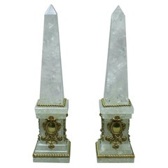 Pair of Rock Crystal Obelisks