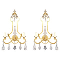 Pair of Rock Crystal Sconces with 22K Gold Leaf