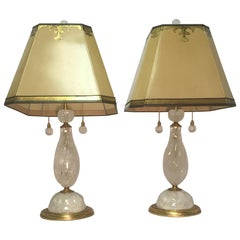 Pair of Rock Crystal Spiral Lamps with Ormolu