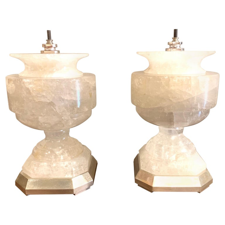 Pair of Rock Crystal Urn Form Lamps For Sale