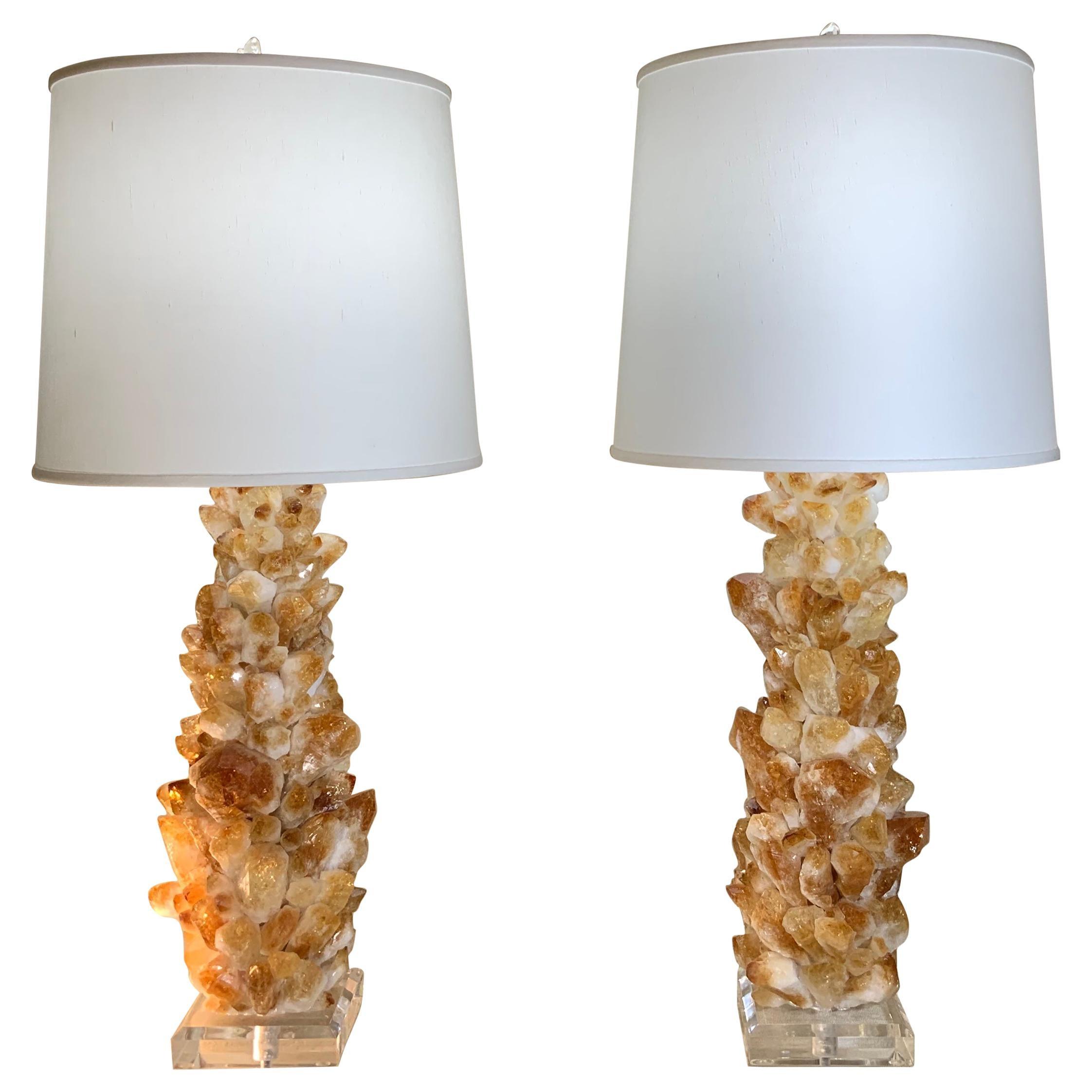Pair of Rock Quartz Citrine Crystal Table Lamps by Joseph Malekan