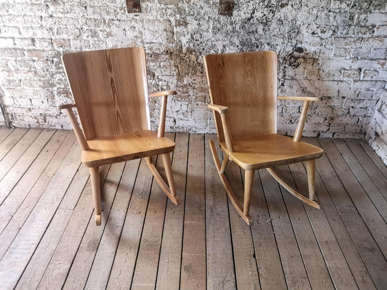Rocking chairs, made in solid pine, designed by Göran Malmvall for Svensk Fur, Sweden. 