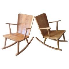 Pair of Rocking Chair in Pine, Göran Malmvall, Sweden, 1940s
