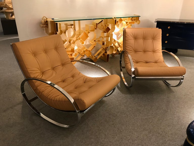 Pair of Rocking Lounge Chair Metal Leather by Renato Zevi, Italy, 1970s For Sale 4