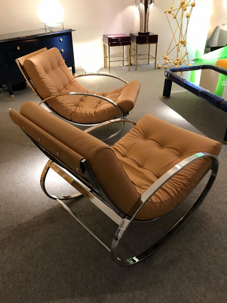 Space Age Pair of Rocking Lounge Chair Metal Leather by Renato Zevi, Italy, 1970s For Sale
