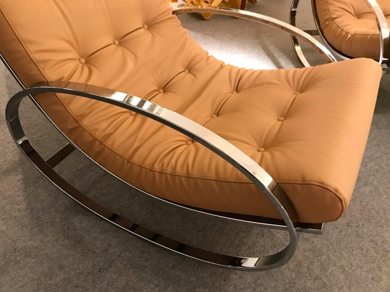 Pair of Rocking Lounge Chair Metal Leather by Renato Zevi, Italy, 1970s In Excellent Condition For Sale In SAINT-OUEN, FR