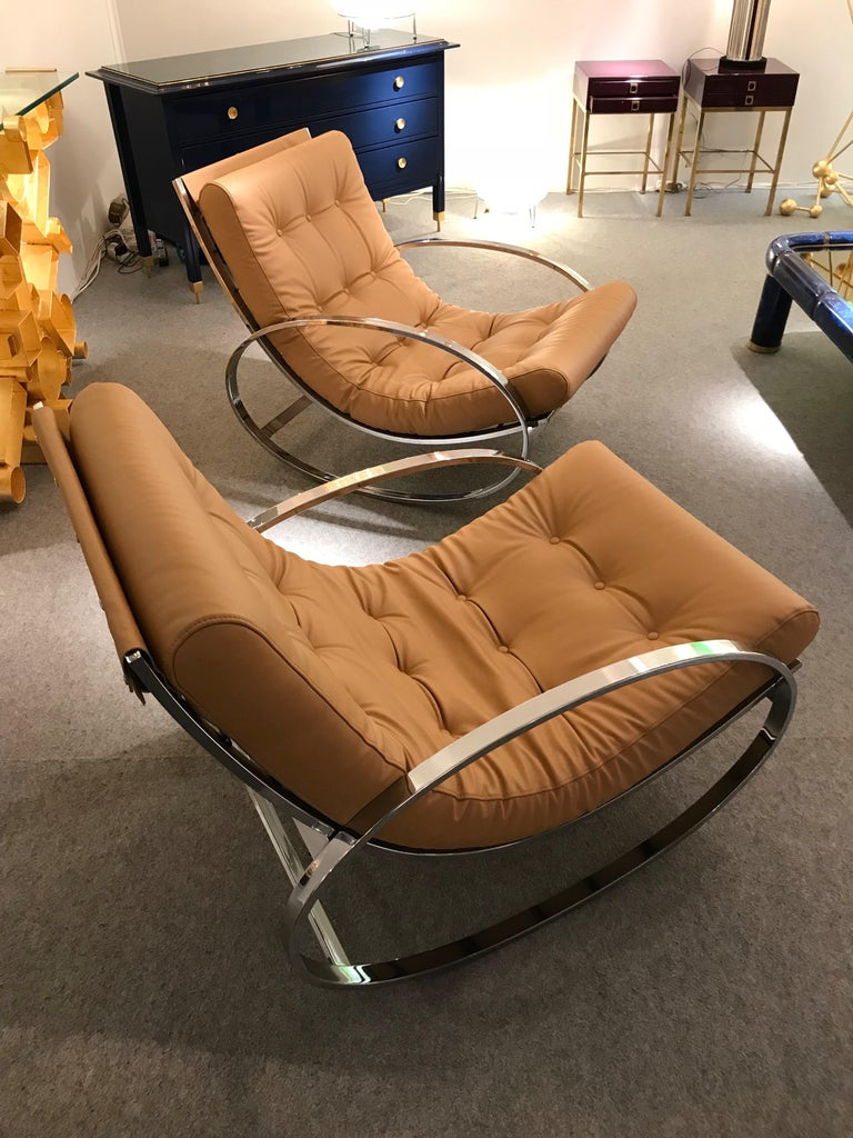 Pair of Rocking Lounge Chair Metal Leather by Renato Zevi, Italy, 1970s For Sale 1