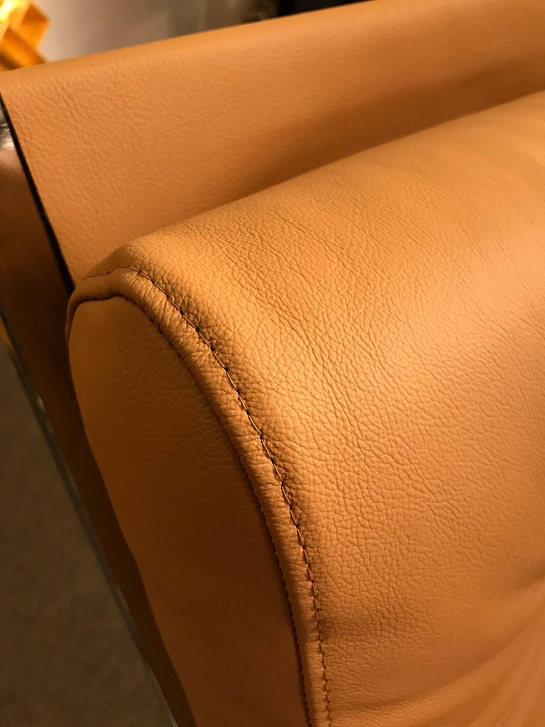 Pair of Rocking Lounge Chair Metal Leather by Renato Zevi, Italy, 1970s For Sale 2