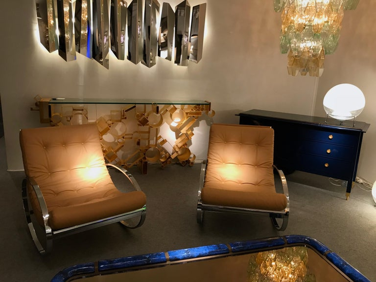 Pair of Rocking Lounge Chair Metal Leather by Renato Zevi, Italy, 1970s For Sale 3